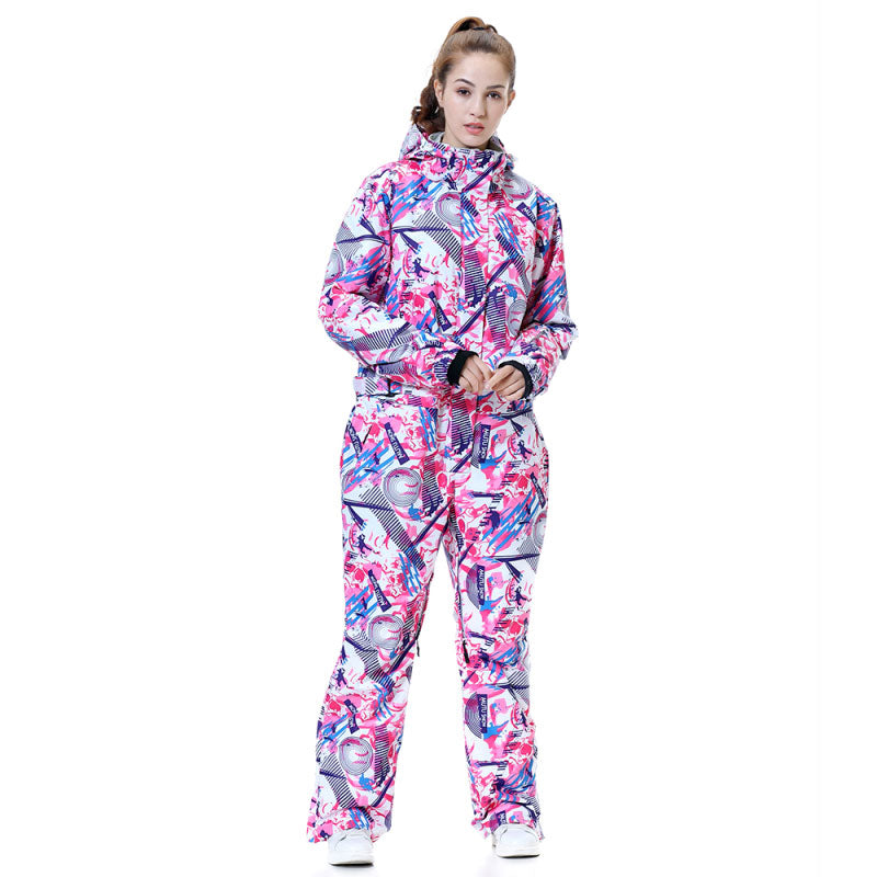 Women's Winter Sports Fashion Colorful One Piece Ski Suits Snow Jumpsuit