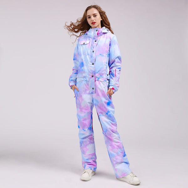 Women's Colorful Fancy Print One Piece Ski Jumpsuit Winter Snowsuits