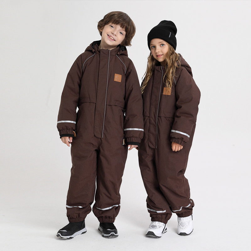 Kids Unisex Nandn Winter Outdoor Animals Friendly One Piece Snowsuits