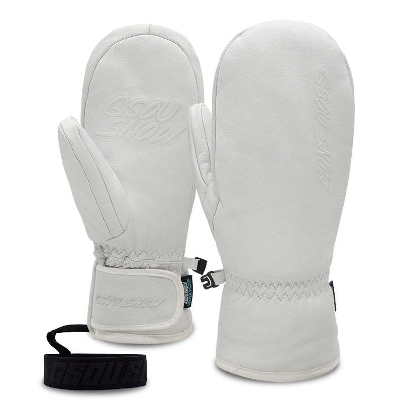 Women's Gsou Snow Goat Leather Winter All Weather Snow Mittens