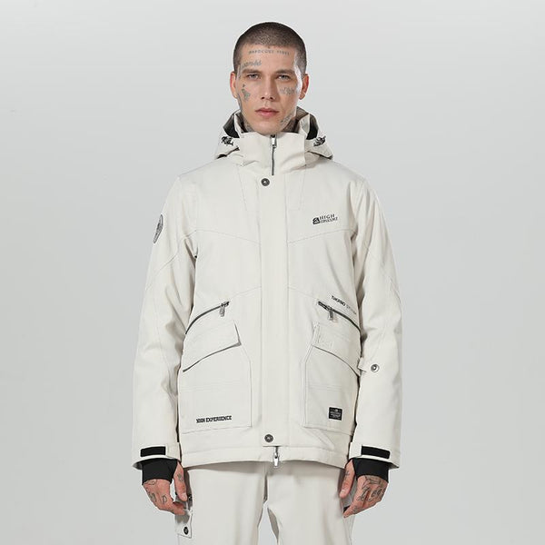 Men's High Experience Top Quality Winter Outerwear Mountain 15k Waterproof White Ski Snowboard Jackets