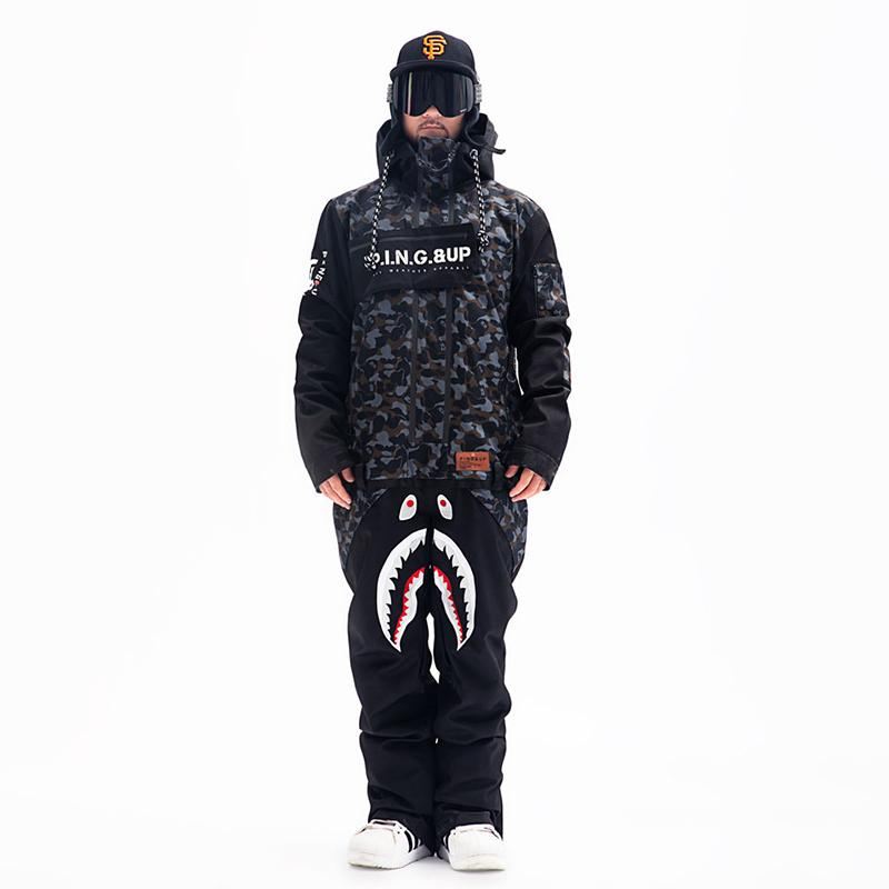 Men's PINGUP P-40 Fighter & Shark Conjoined One Piece Snowboard Suits