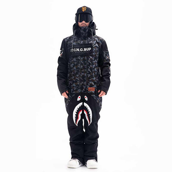 Men's PINGUP P-40 Fighter & Shark Conjoined One Piece Snowboard Jumpsuit