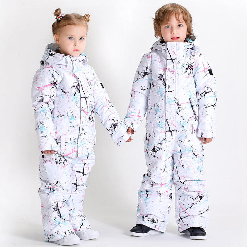 Kids Unisex Waterproof Colorful Winter Outdoor Ski Suit One Piece Snowsuits