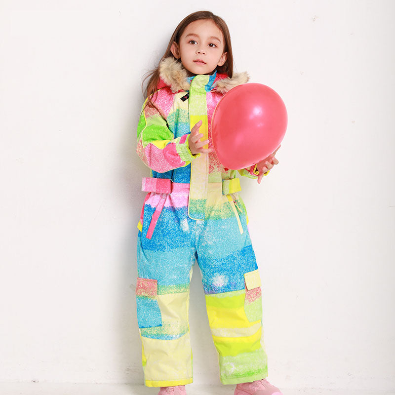 Girls Blue Magic Winter Jumpsuits Waterproof Colorful One Piece Ski Suits