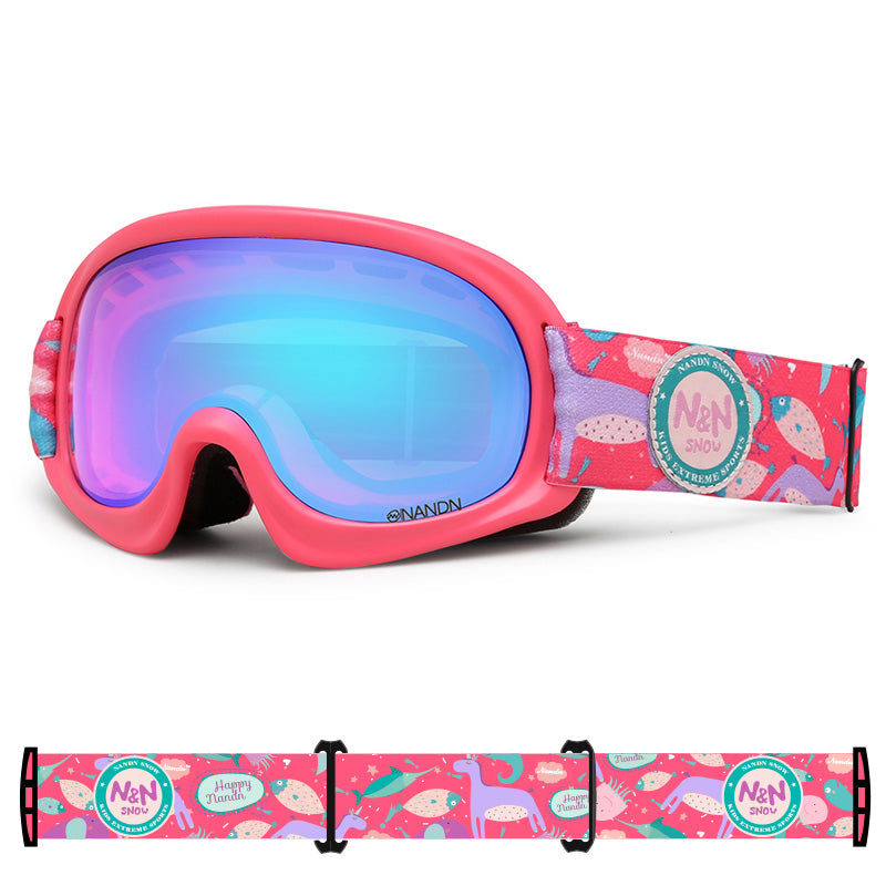 Kids Nandn Unisex Wintersports Fashion Snow Goggles Package