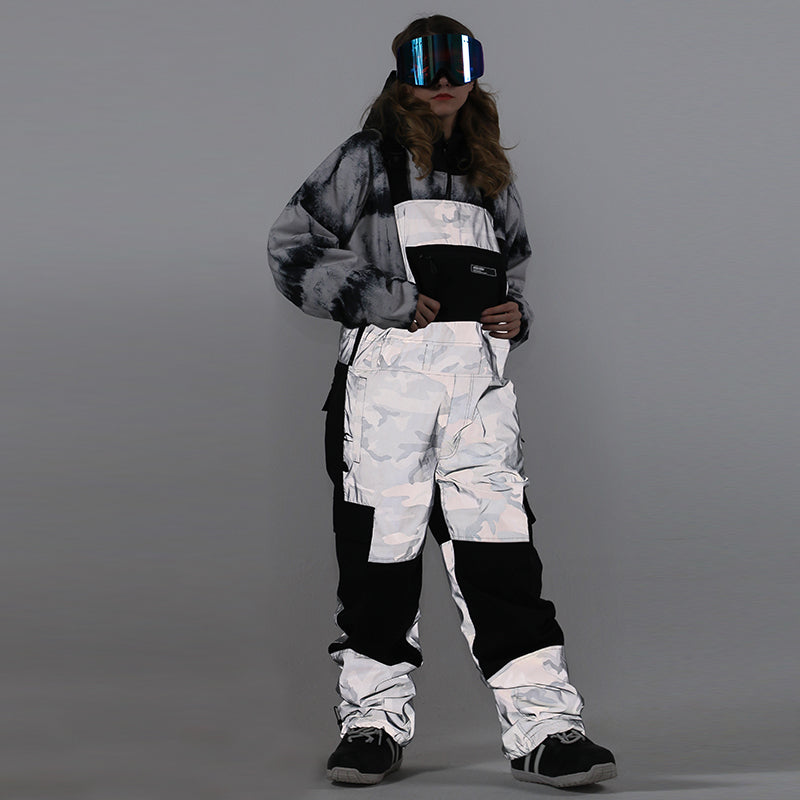 Women's Unisex Gsou Snow Serein Glimmer Outdoor Ski Pants Snow Bibs