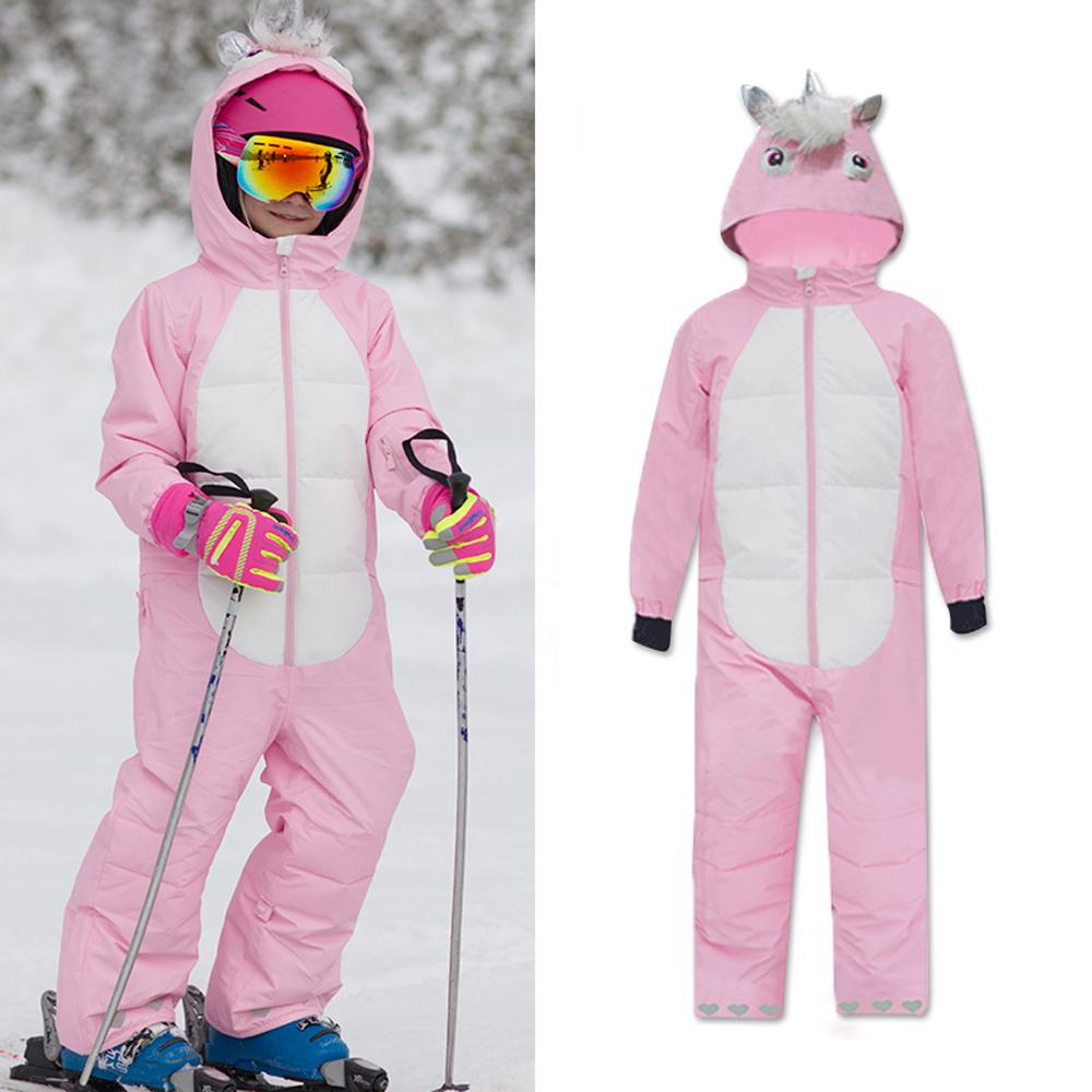 Girls Unisex Waterproof Winter Animal Friendly One Piece Jumpsuit Snowsuits