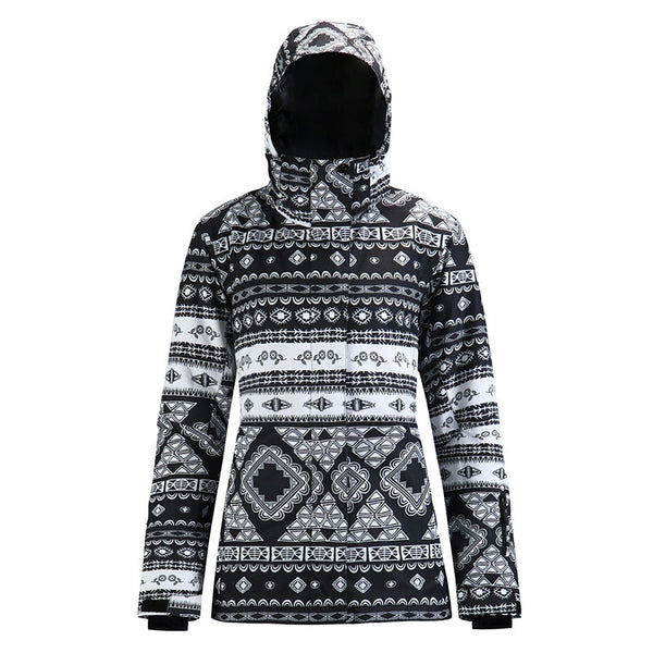 Women's SMN Geometric Art Pattern Waterproof Ski Jacket