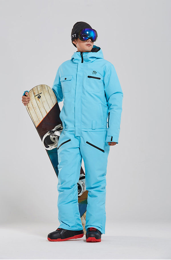 Men's LTVT Winter Fashion Mountains Style One Piece Ski Jumpsuit Snowboard Suits