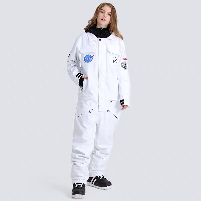 Women's SMN Slope Star Nasa Icon One Piece Ski Suits Snow Jumpsuit