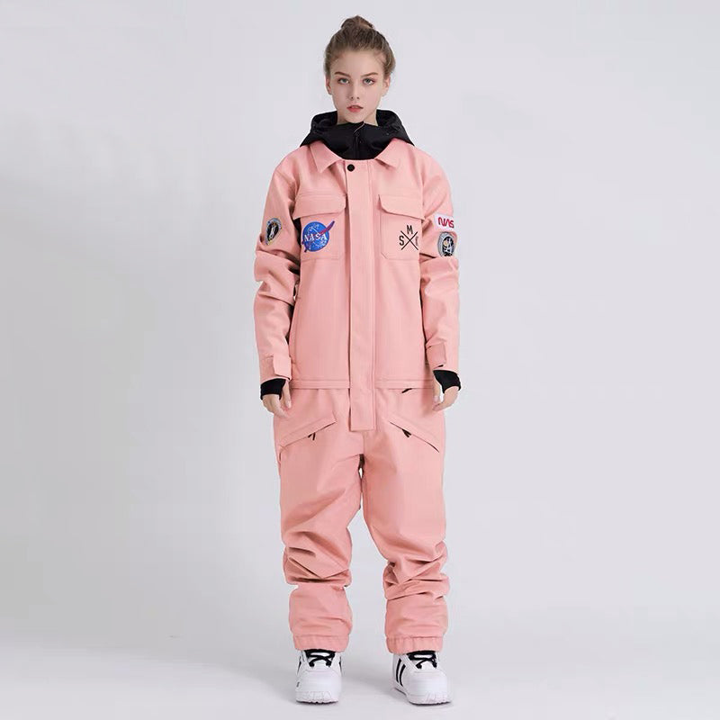 Women's SMN Slope Star Nasa Icon One Piece Ski Suits Winter Jumpsuit