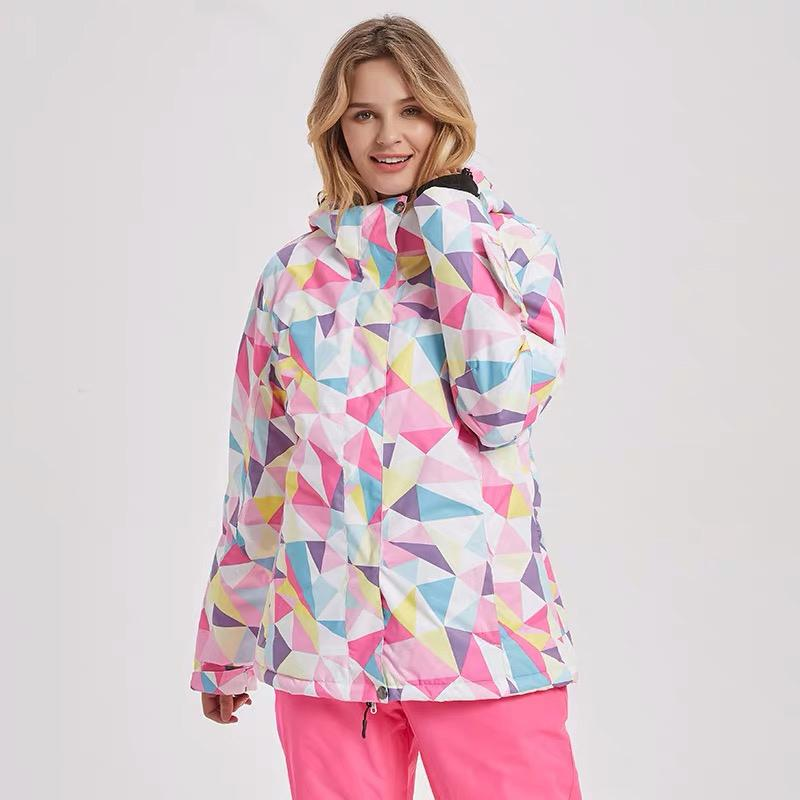 Women's Mutu Snow Rainbow Printed Insulated Snowboard Jacket
