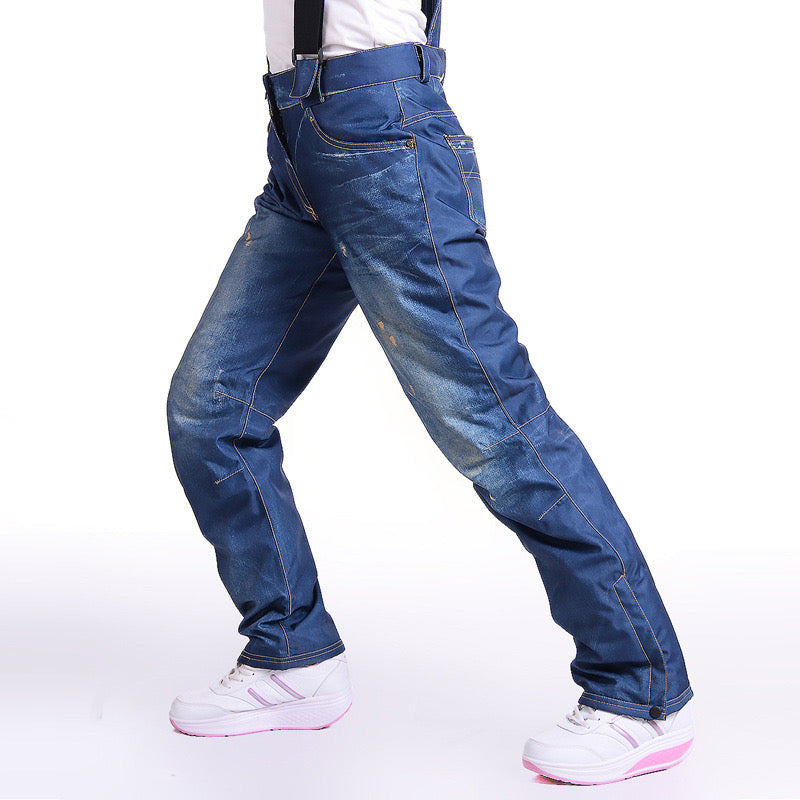 Women's Winter Warm Waterproof Hip Snowboard Denim Pants Jeans
