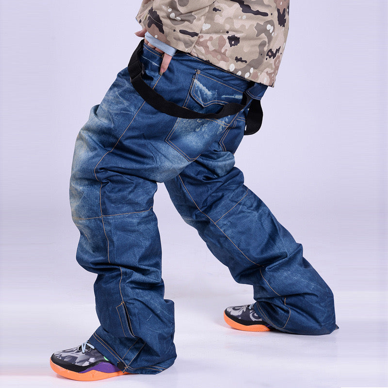 Men's Winter Warm Waterproof Hip Snowboard Denim Pants Jeans