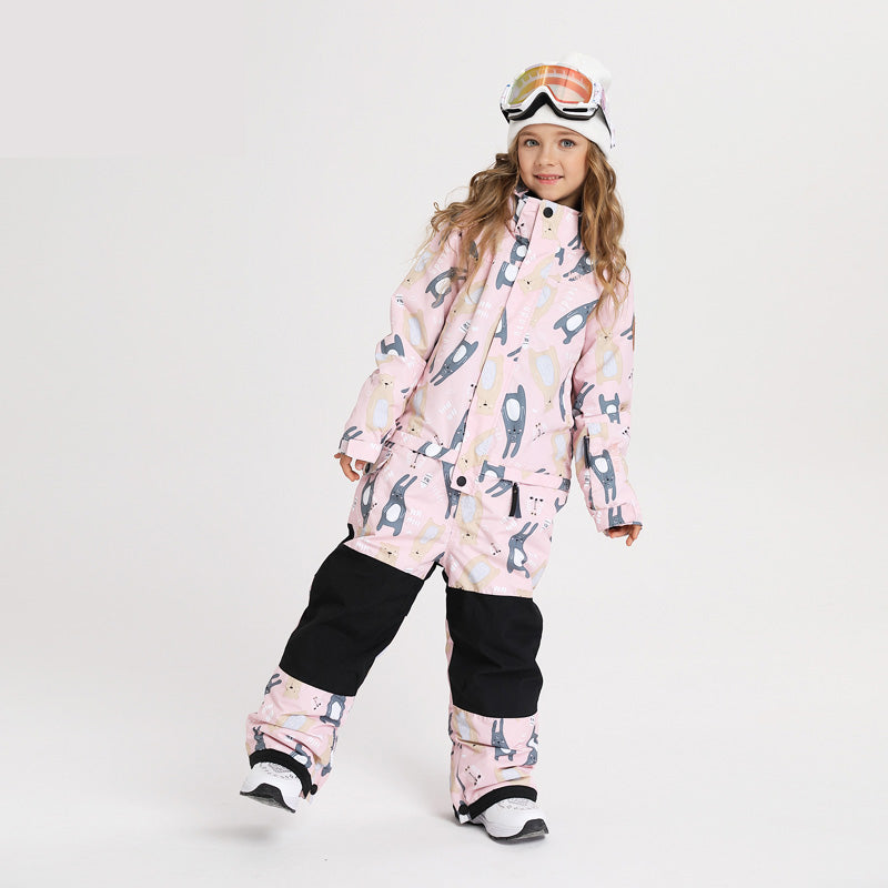 Girl & Boy Unisex Nandn One Piece Stylish Ski Suits Winter Jumpsuit Snowsuits