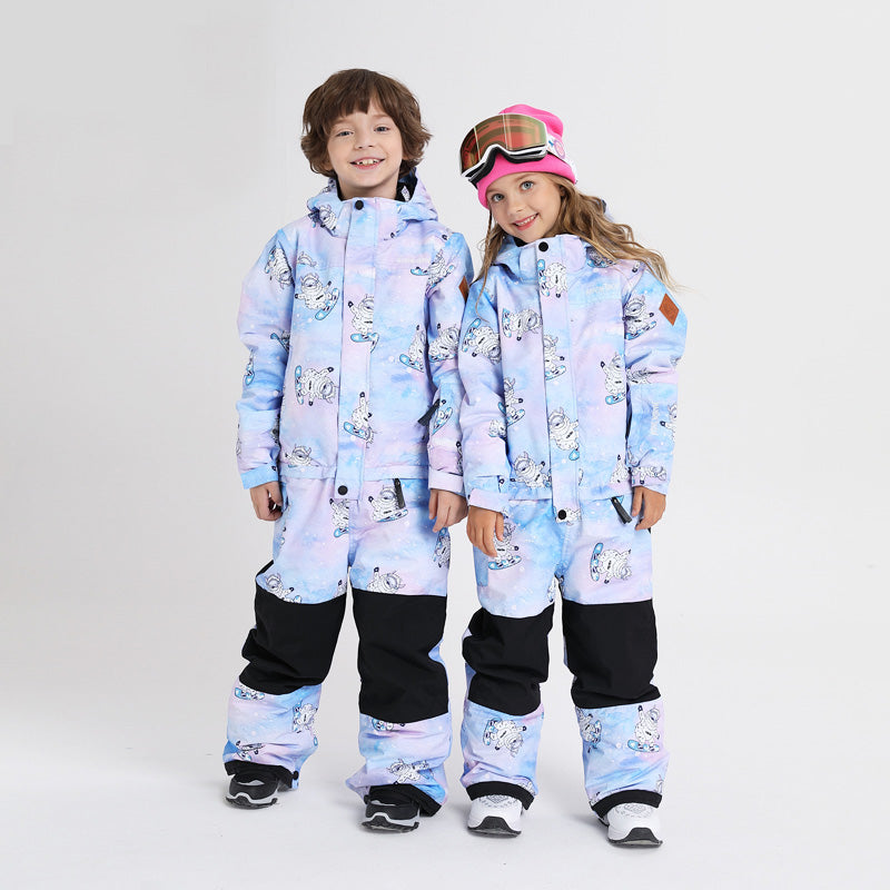Boy & Girls Unisex Nandn One Piece Stylish Ski Suits Winter Jumpsuit Snowsuits