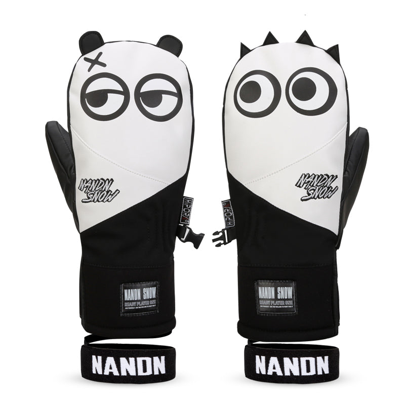 Women's Nandn Full Leather Snow Mascot Snowboard Gloves Winter Mittens