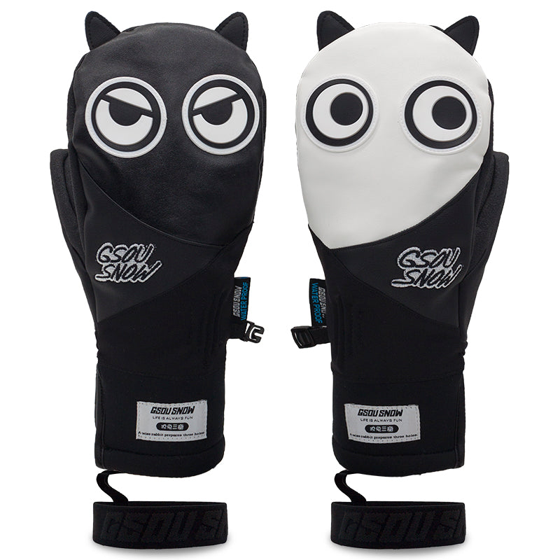 Men's Unisex Gsou Snow Full Leather Snow Mascot Snowboard Gloves Winter Mittens