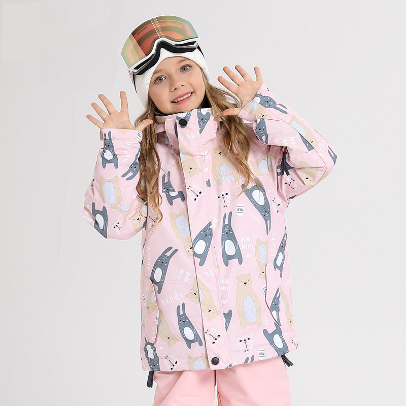 Girls & Boys Unisex Nandn Winter Wonderland Sportswear Waterproof Ski Jacket