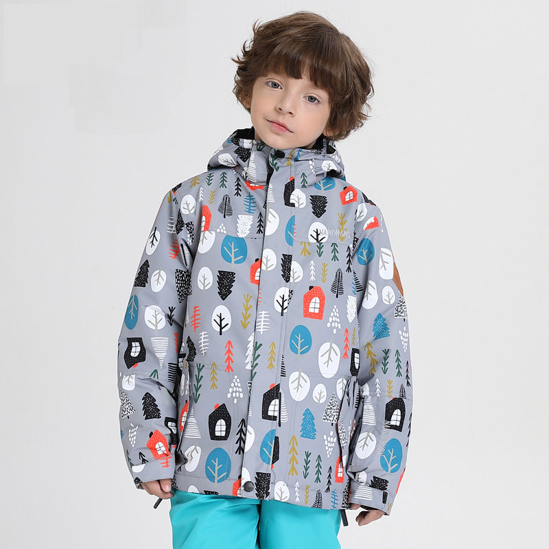 Kids Unisex Nandn Winter Wonderland Sportswear Waterproof Ski Jacket