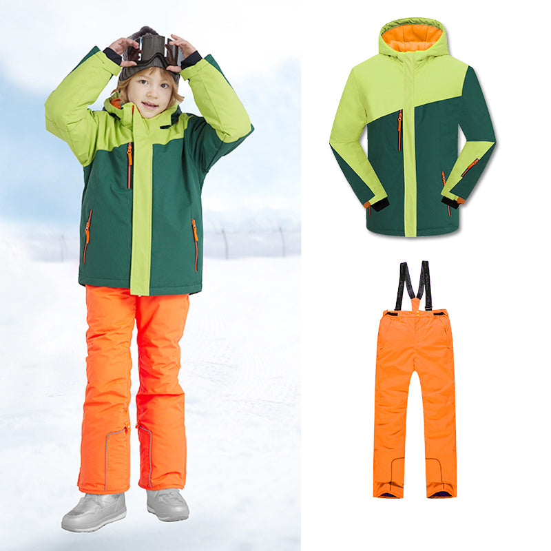 Girls Unisex Winter Mountain Snowsuits Waterproof Jackets & Pants Set