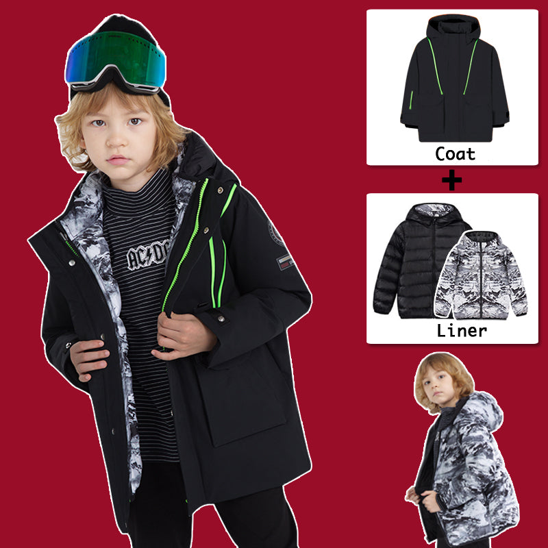 Kids Phibee 2 in 1 Waterproof Winter Down Jacket Puff Winter Parka