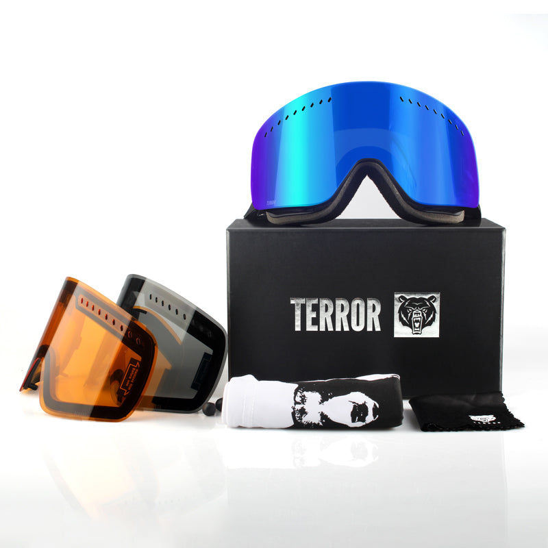 Unisex Terror Frameless Snowboard Goggles With 2 Spare Lenses