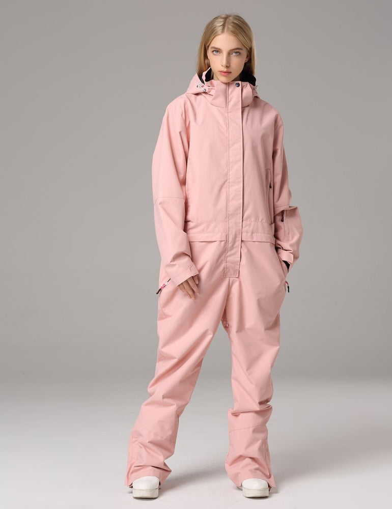 Women's Searipe One Piece Pink Ski Suits Winter Jumpsuit Snowsuits