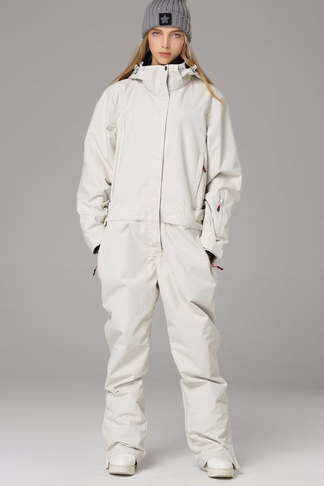 Women's Searipe One Piece White Ski Suits Winter Jumpsuit Snowsuits