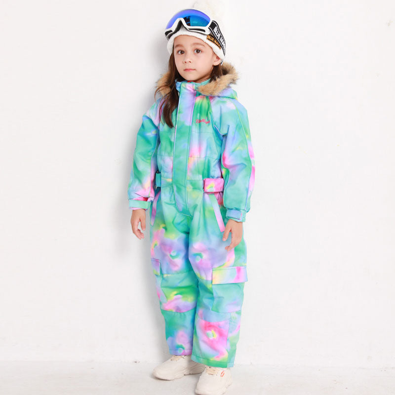 Girls Blue Magic Waterproof Colorful One Piece Coveralls Ski Suits Winter Jumpsuits