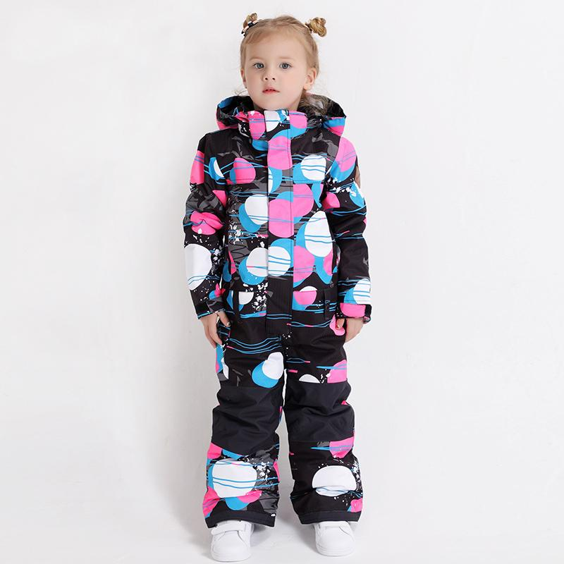 Youth Waterproof Colorful Winter Cuty Ski Suit One Piece Snowsuits