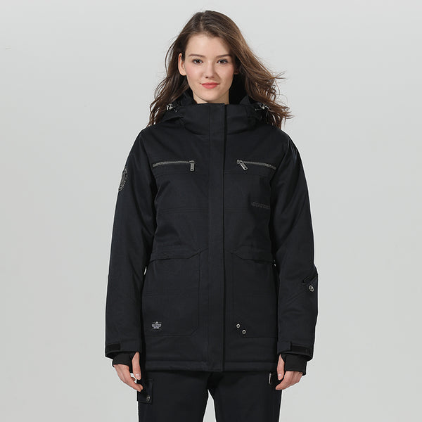 Women's High Experience Top Quality Winter Fashion Outerwear 15k Waterproof Black Ski Snowboard Jackets