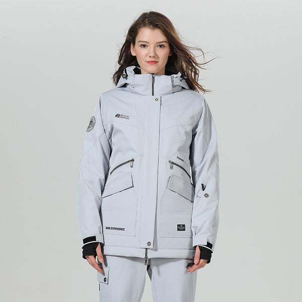 Women's High Experience Top Quality Winter Outerwear Mountain 15k Waterproof Gray Ski Snowboard Jackets