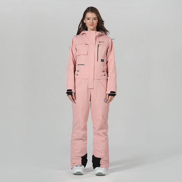 Women's High Experience Winter Snowsports Stylish One Piece Pink Snowboard Suits