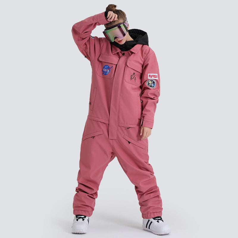 Women's SMN Slope Star Nasa Icon One Piece Ski Suits Winter Snowsuits