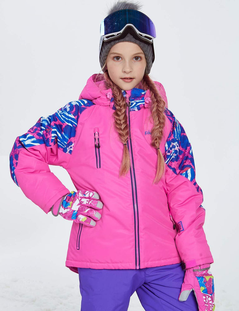 Girl's Phibee Attractive Back Pattern Winter Outdoor Sportswear Waterproof Ski Jacket
