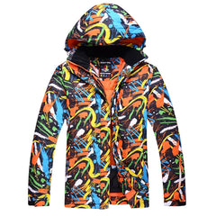 Men's Mountain Shadow Print Warm Snow Jacket - Orange Color