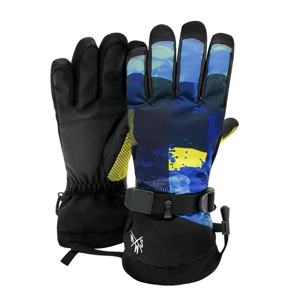 Men's New Fashion Colorful Waterproof Ski Gloves