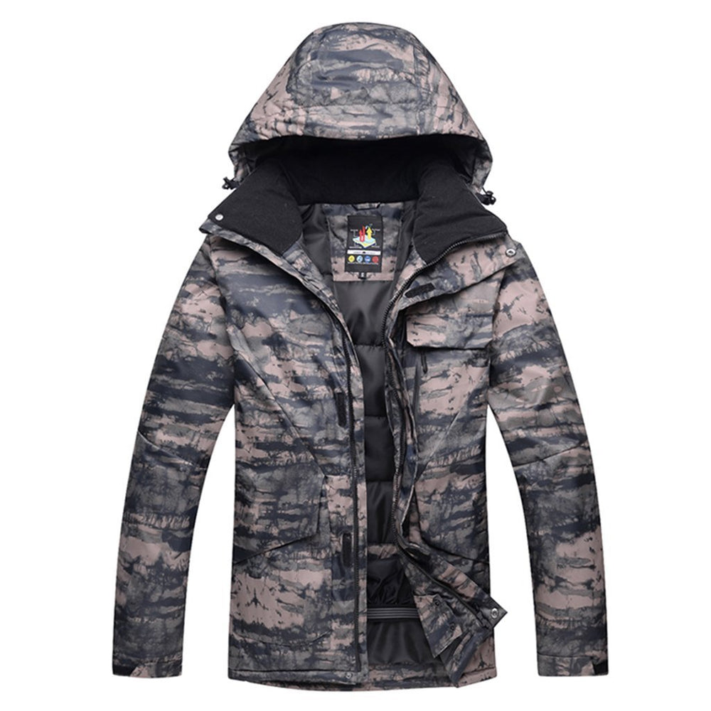 Men's Waterproof Fleece Mountain Jacket Windproof Camo Ski Jacket