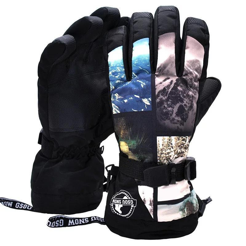 Men's Waterproof Mountain Landscape Snowboard Gloves
