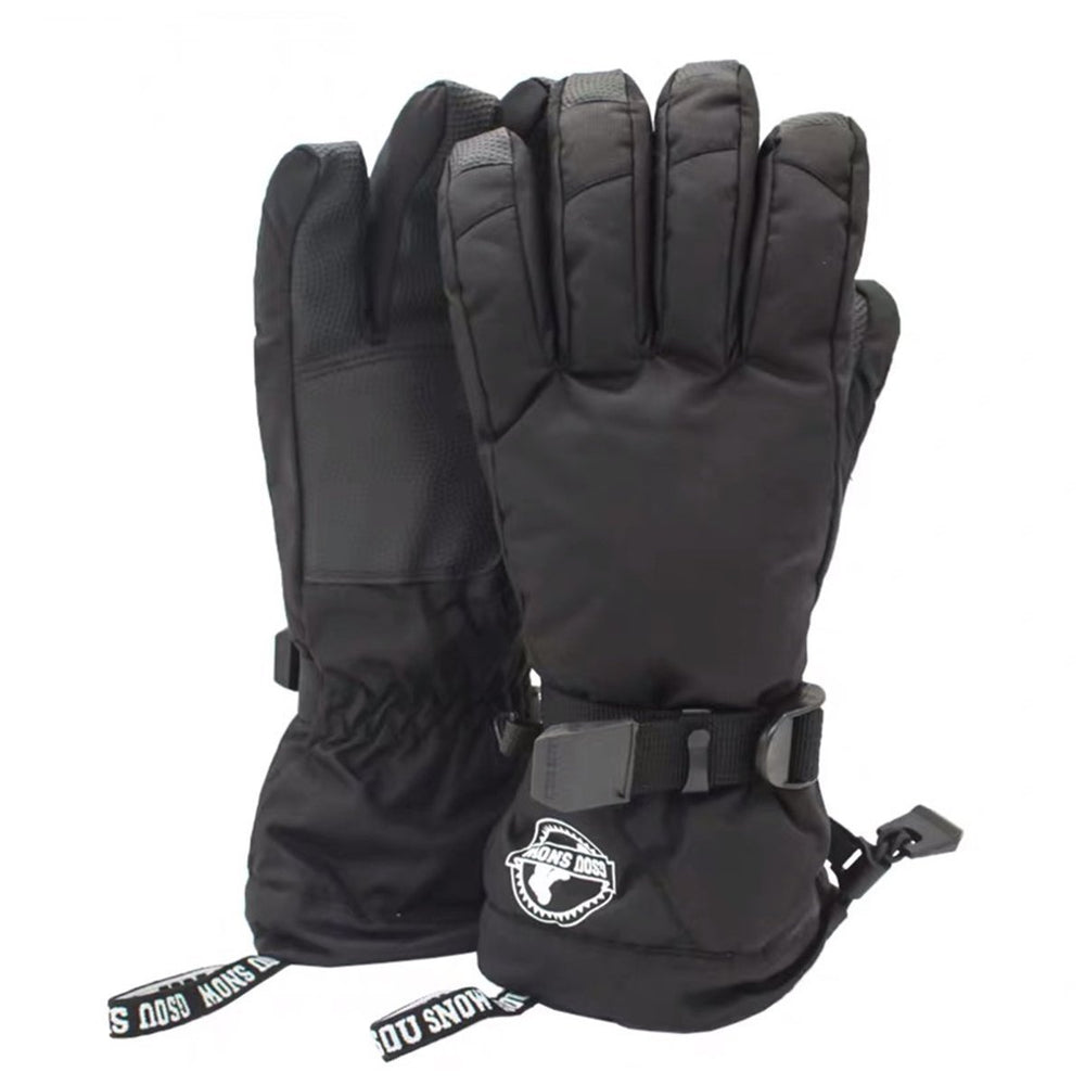 Men's Waterproof Simple Black Ski Gloves