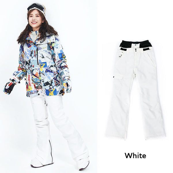 Women's Vector 10k Waterproof Mountains Girl White Snowboard/Ski Pants