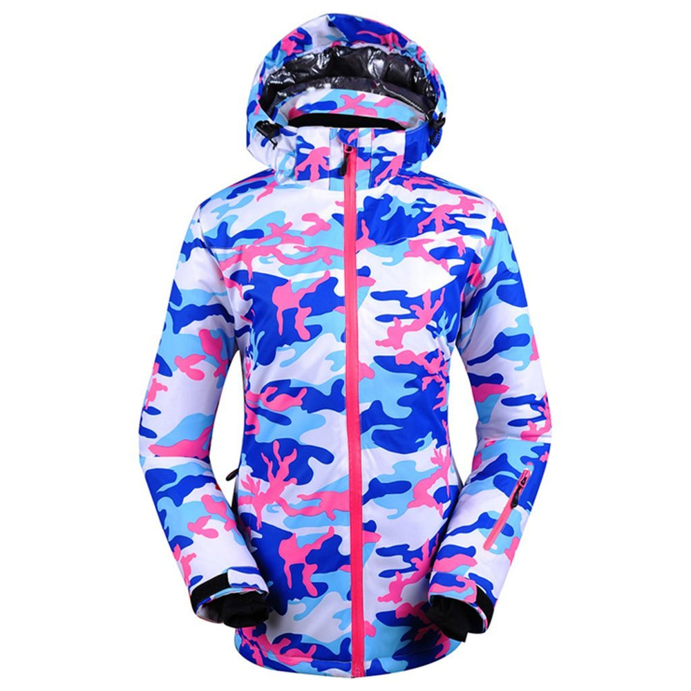 Women's Snowy Owl Stylish Camo Blue Colorful Print Ski Jacket