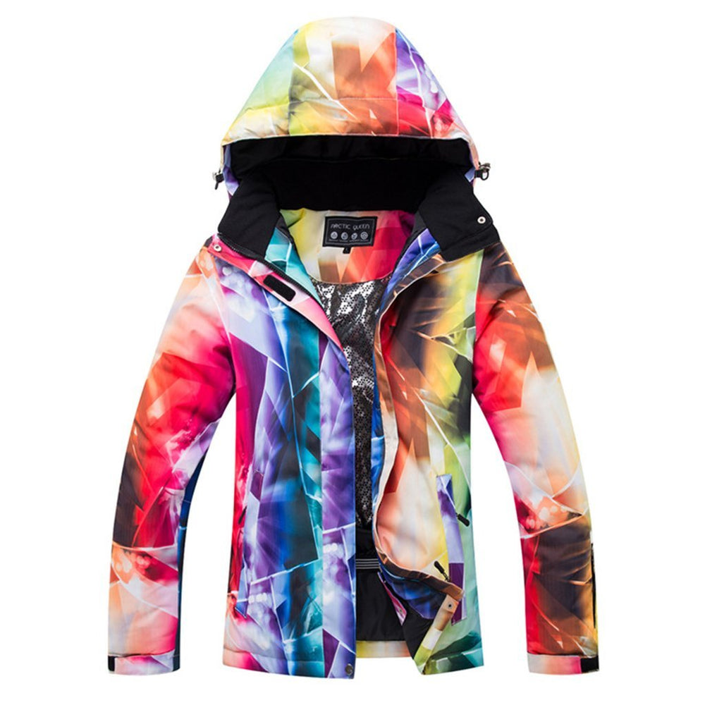 Women's Bright Colorful Performance Insulated Ski Jacket with Zip-Off Hood