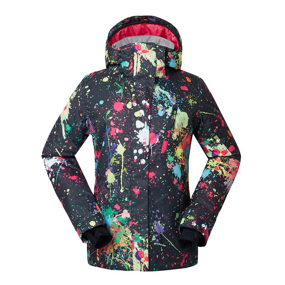 Women's Gsou Snow 10k Aspen Snowmass Winter Art Painting Snowboard Jacket