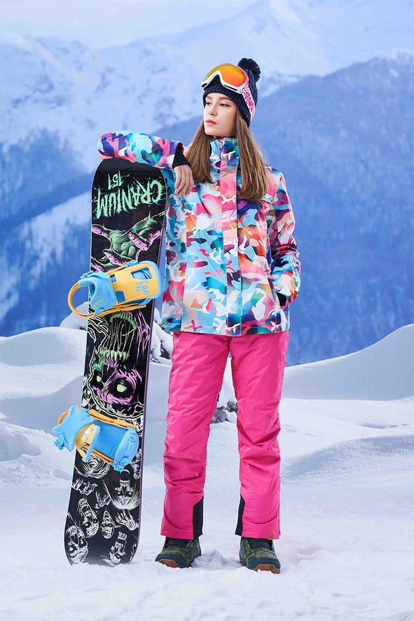 Women's Gsou Snow 10k California Camo Pink Mountains Stylish Snowboard Suits - snowverb