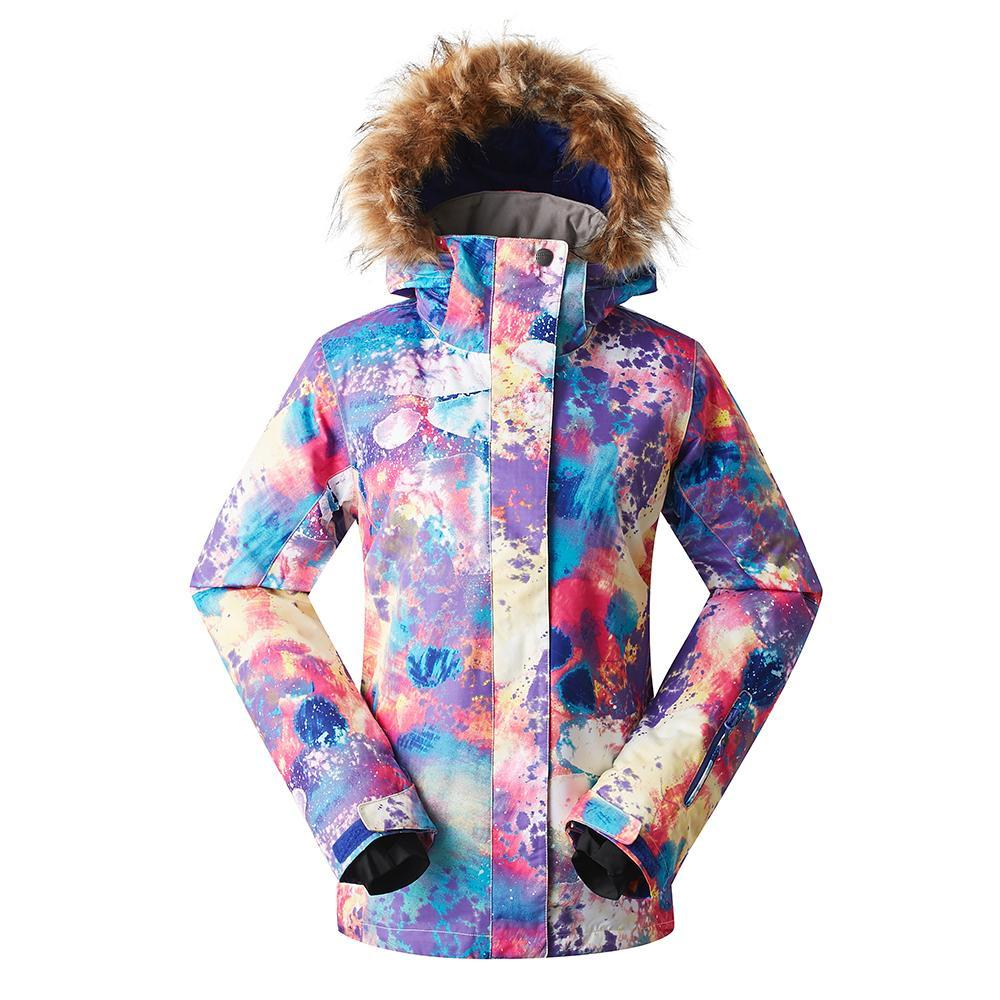 Women's Gsou Snow 10k Color Forest Faux Fur Snowboard Jacket
