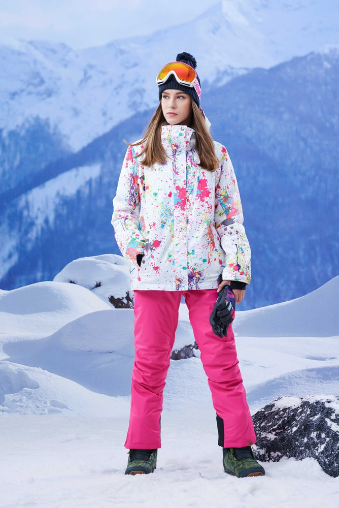 Women's Gsou Snow 10k Lake Tahoe Color Splash Snowboard Suits