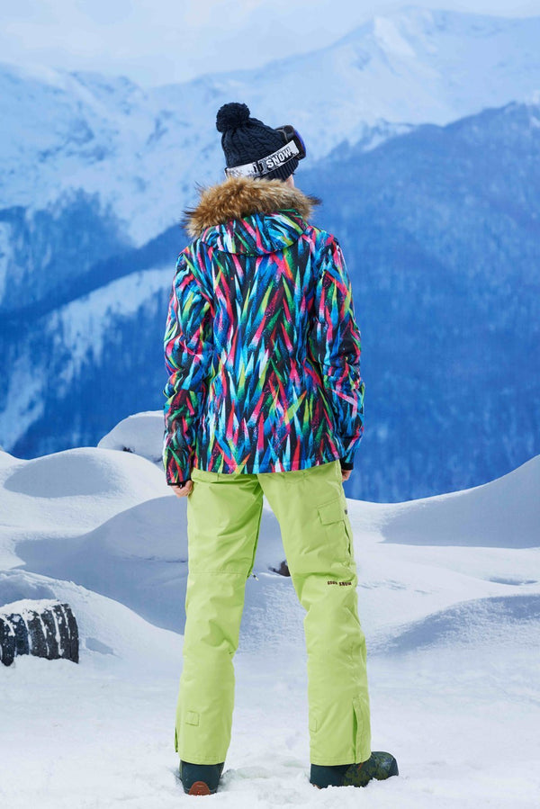 Women's Gsou Snow 15k Colorful Light Faux Fur Snowboard Jacket - snowverb